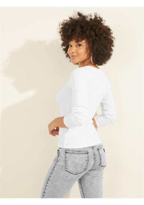 T-shirt bianca a manica lunga GUESS | T-shirt | W0BP1SR9I51BIANCO