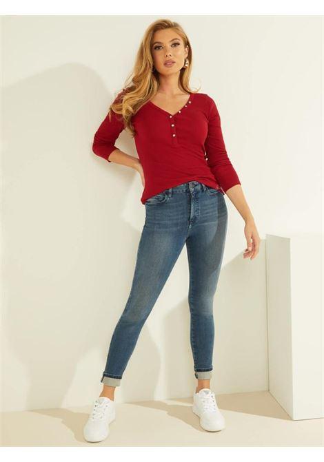 T-shirt rossa a manica lunga GUESS | T-shirt | W0BP1SR9I51RED