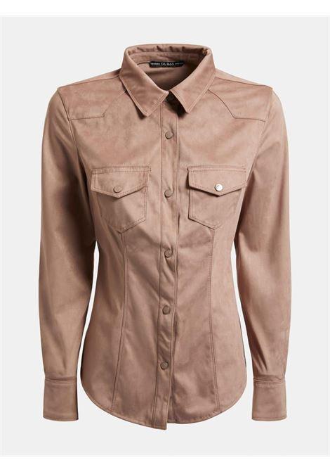 camicia scamosciata rosa GUESS | Camicie | W1BH13WE5D0BEIGE