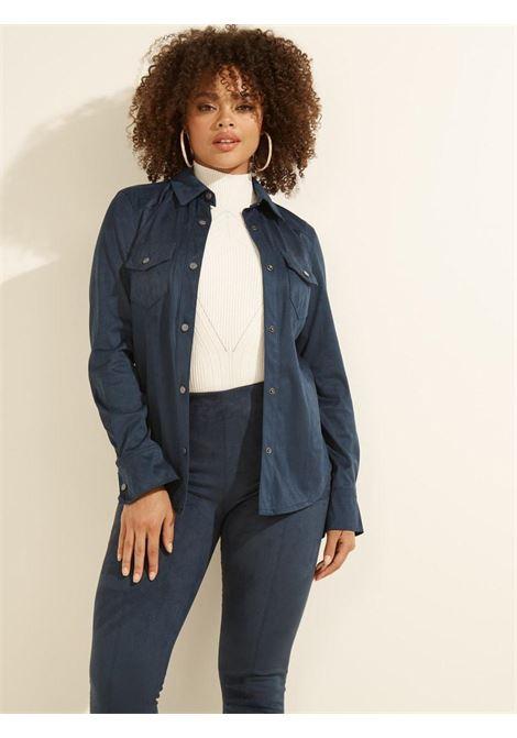 camicia scamosciata blu GUESS | Camicie | W1BH13WE5D0NAVY