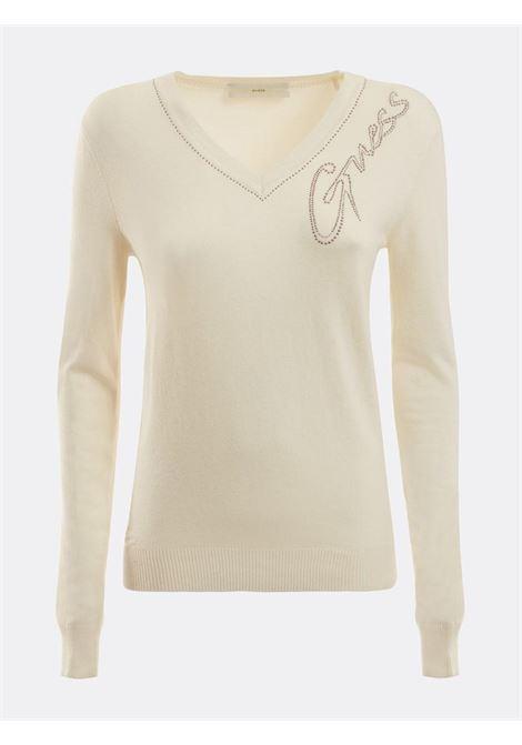 maglione bianco scollo a 'v' GUESS | Maglieria | W1BR12Z2NQ0BIANCO