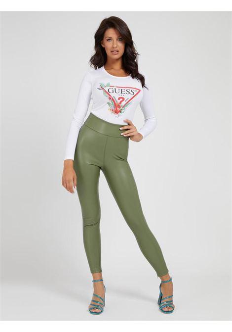 Pantalone verde in ecopelle GUESS | Pantaloni | W1RB25WBG60VERDE