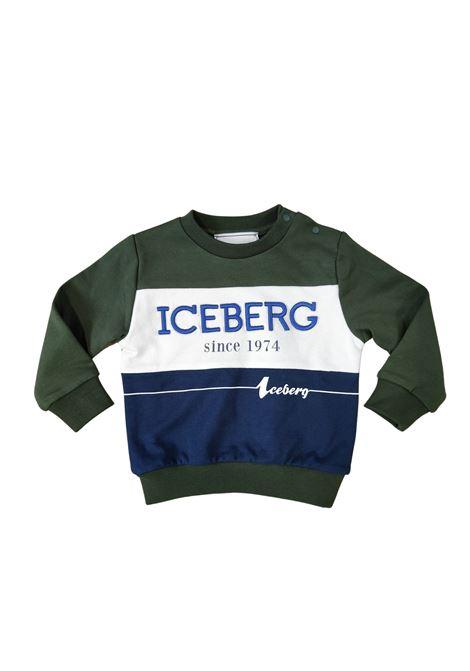 felpa  verde con logo bianco e blu iceberg   Felpe   MFICE2323BVERDE