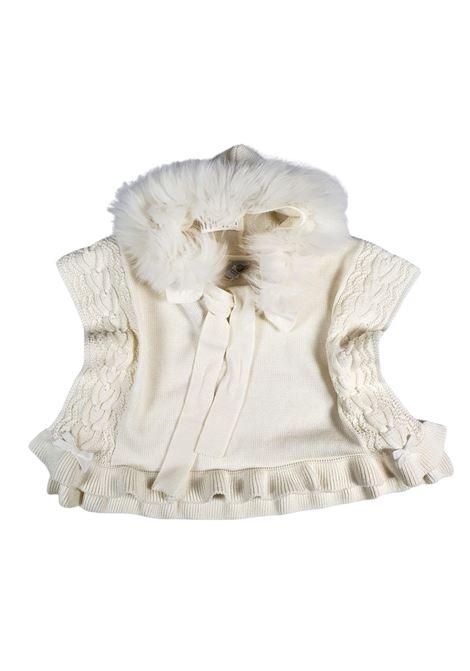 mantella con cappuccio in pelliccia panna marlu | Capispalla | IC1042PANNA