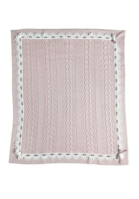 coperta in lana marsala con contorni pizzo bianco marlu | Coperte | IC1080MARSALA