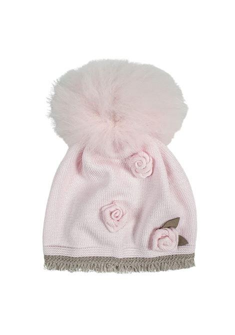 cappello in lana rosa tortora con pon pon marlu | Cappelli | IC1571ROSA TORTORA