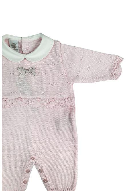 tutina in lana rosa e grigio con collo bianco marlu | Tutine | IC1710ROSA GRIGIO