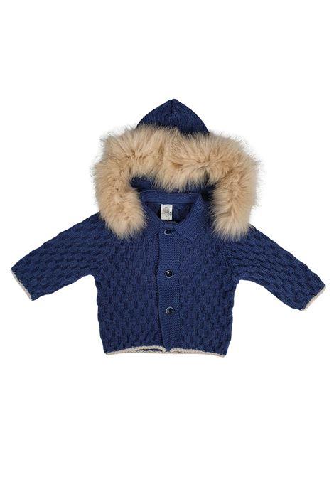 cappottino in lana con cappuccio in pelliccia removibile marlu | Capispalla | IC5340BLU