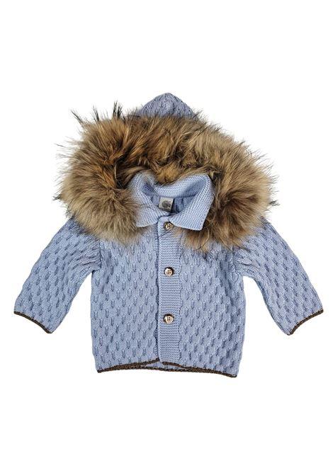 cappottino in lana con cappuccio in pelliccia removibile marlu | Capispalla | IC5340CIELO