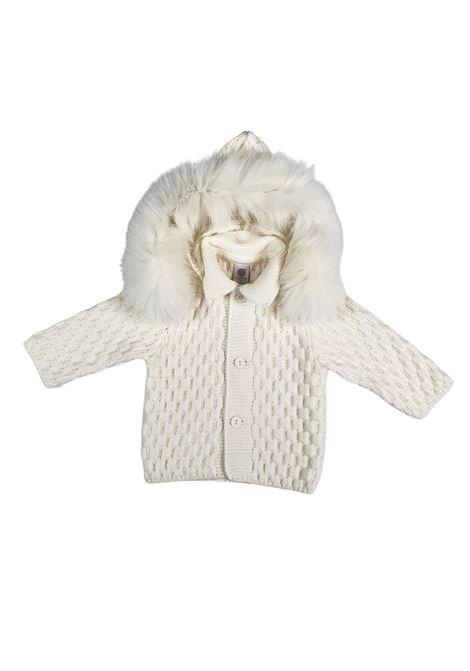 cappottino in lana con cappuccio in pelliccia removibile marlu | Capispalla | IC5340PANNA