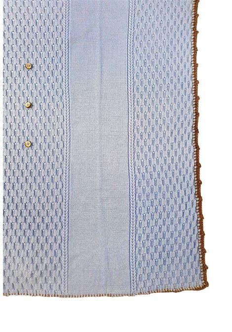 coperta in lana con ricami color cielo marlu | Coperte | IC5380CIELO