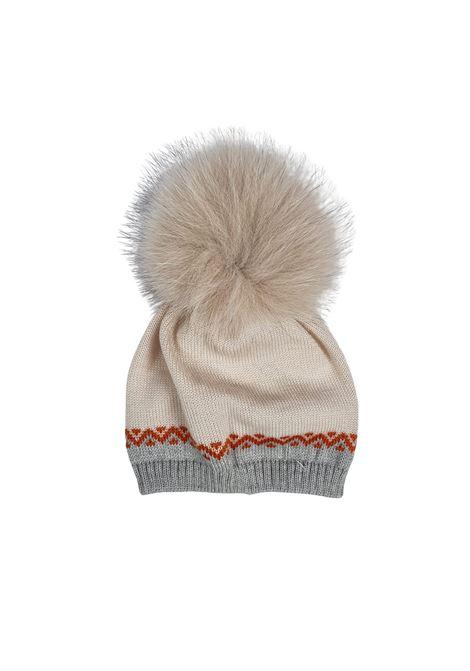 cappello in lana con pon pon grigio e panna marlu | Cappelli | IC5771GRIGIO