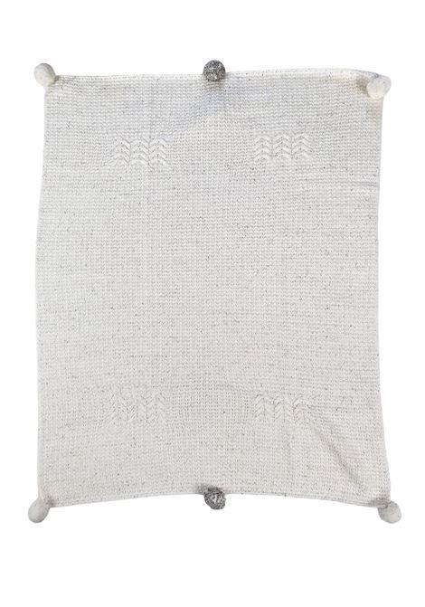 coperta in lana con ricami panna e cacao marlu | Coperte | IC5980PANNA CACAO