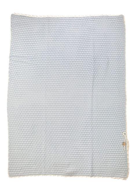 coperta in lana con ricami color cielo e bianco marlu | Coperte | IC6080CIELO BIANCO