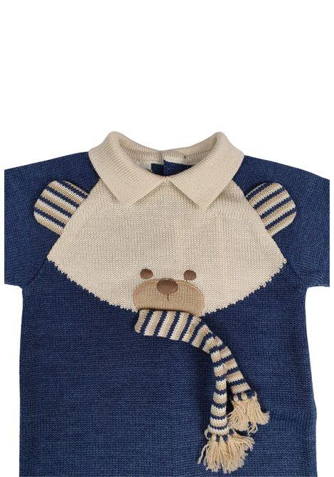 tutina in lana blu con orsetto centrale ricamato marlu | Tutine | IC6510BLU