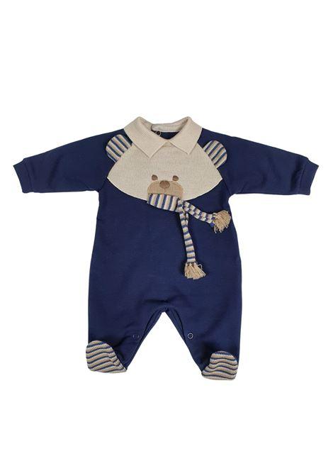 tutina in cotone blu con orsetto ricamato centrale marlu | Tutine | IC6514BLU