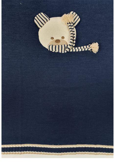 coperta in lana blu con orso ricamato frontale marlu | Coperte | IC6580BLU