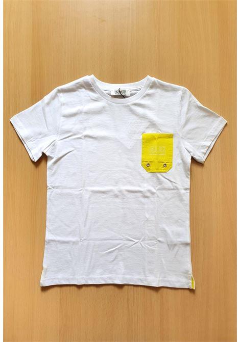 T-SHIRT BIANCA CON TASCA FRONTALE GIALLA cesare paciotti | T-shirt | TSP1124JUNI