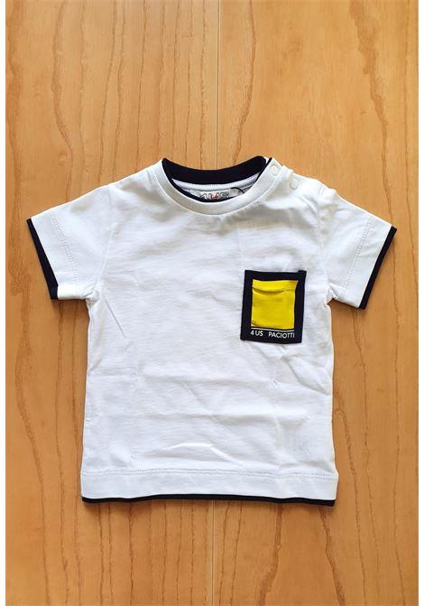 T-SHIRT BIANCA CON TASCHINO FRONTALE GIALLO cesare paciotti | T-shirt | TSP1144BUNI