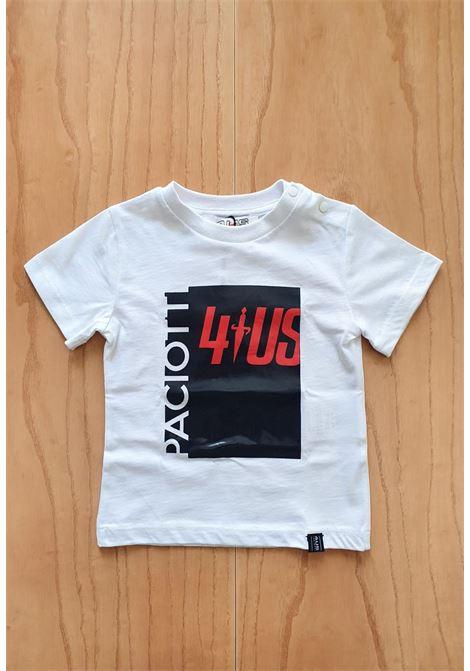 T-SHIRT BIANCA STAMPA FRONTALE BLU SCRITTA ROSSA cesare paciotti | T-shirt | TSP1149BUNI