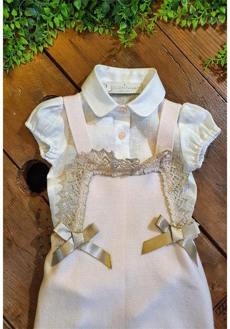 pagliaccetto in cotone rosa con camicia in lino colori chiari | Tutine | FF215651UNI