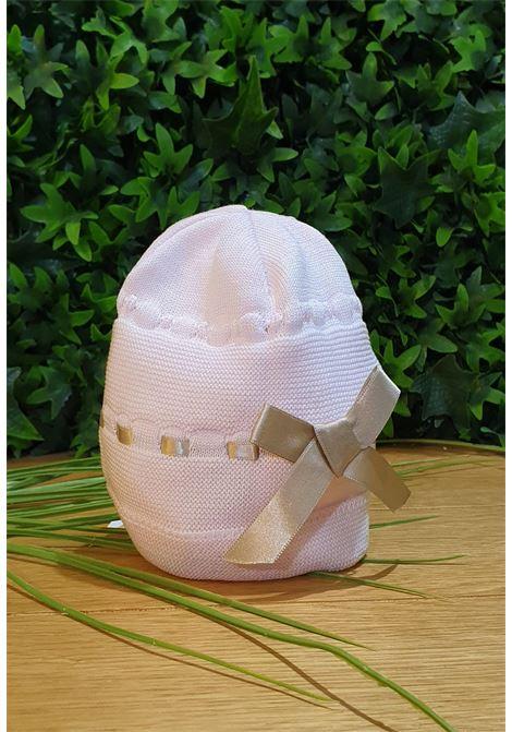 cappello in cotone rosa con fiocco in raso beige colori chiari | Cappelli | FF785646UNI
