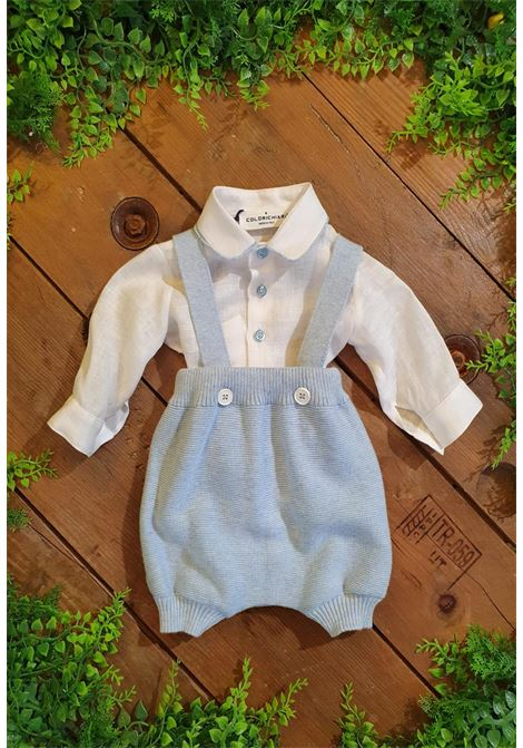 pagliaccetto salopette con camicia in lino colori chiari | Tutine | MF215667UNI
