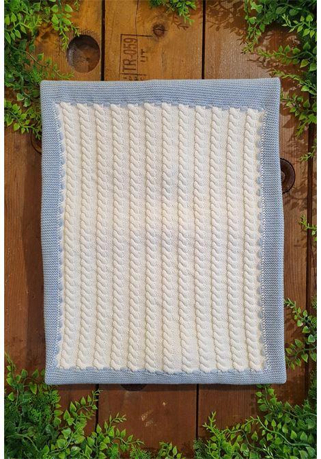 coperta in cotone azzurra e bianca trama treccia colori chiari | Coperte | MF775662UNI