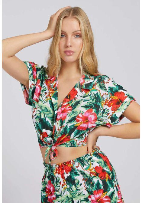 Camicia a fantasia guess GUESS beachwear | Camicie | E1GH01W005MVERDE