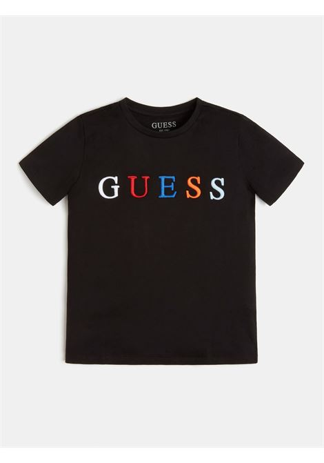 t-shirt nera mezza manica scritta ricamata frontale GUESS kids   T-shirt   H1RJ04K8HM0JBLK
