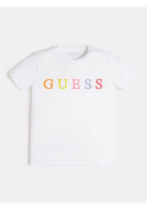 t-shirt bianca mezza manica scritta ricamata frontale GUESS kids   T-shirt   H1RJ04K8HM0TWHT