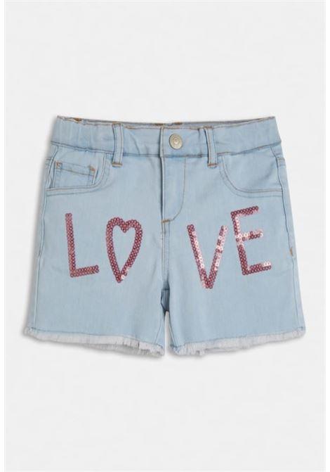 gonna in denim scritta frontale LOVE GUESS kids | Pantaloni | J1GD25D4CA0DENIM