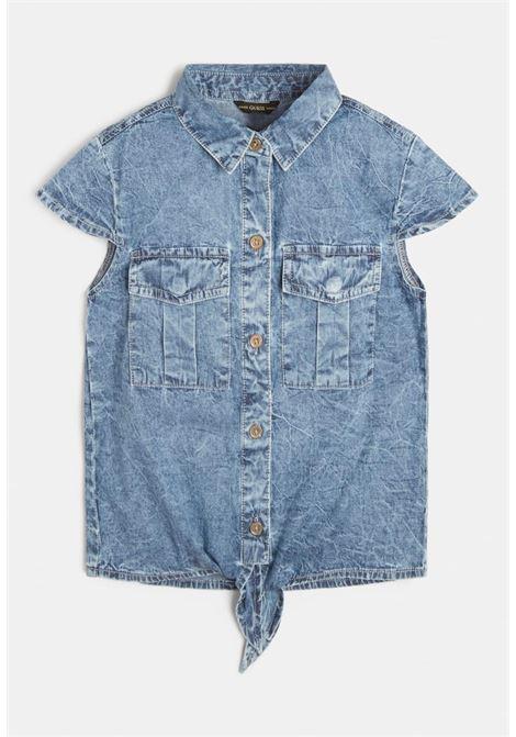 camicia in denim mezza manica con nodino GUESS kids | Camicie | J1GH11D4D90LBGW