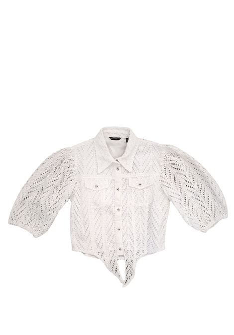 camicia corta bianca traforata con nodo in vita GUESS kids | Camicie | J1GH14WDVA1WHITE