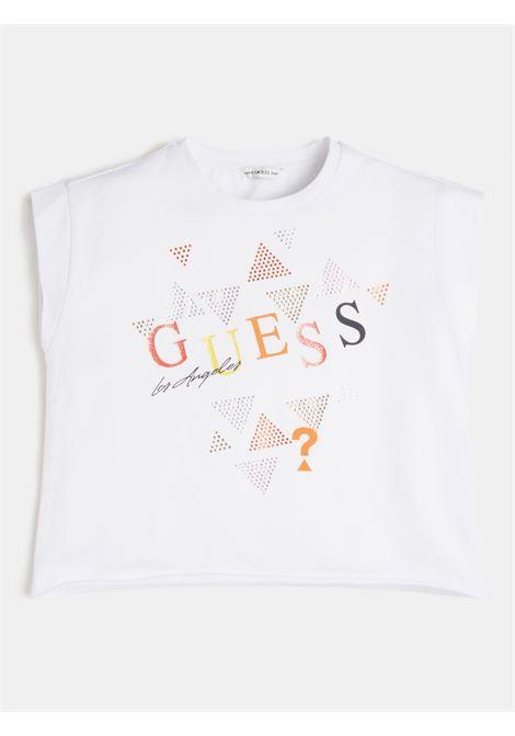 t-shirt asimmetrica bianca con stampa frontale GUESS kids   T-shirt   J1GI05K6YW1WHITE