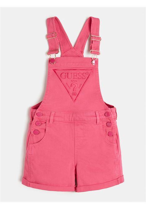 salopette in jeans logo frontale rosa GUESS kids | Gonna e Shorts | J1GK12WB5Z0PINK