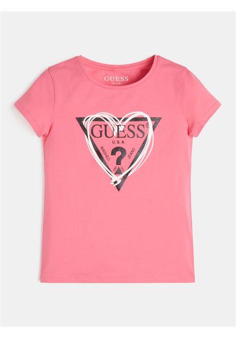 t-shirt rosa in cotone logo frontale GUESS kids | T-shirt | J1RI04K6YW1G607