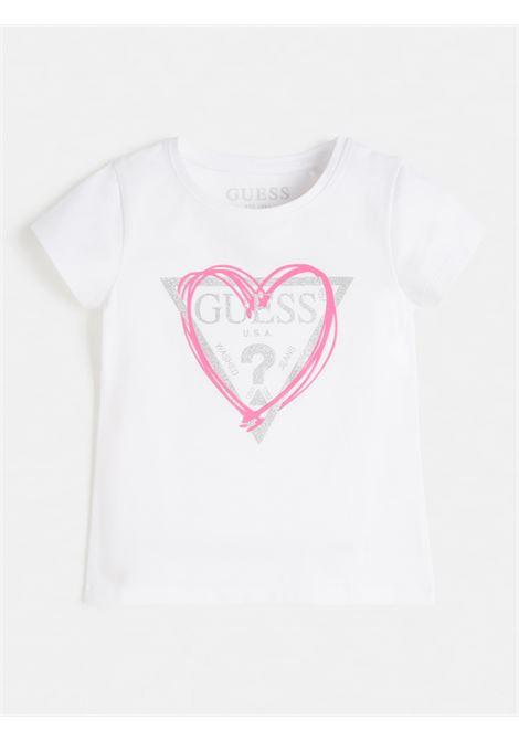 t-shirt bianca in cotone logo frontale GUESS kids   T-shirt   J1RI04K6YW1TWHT