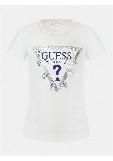 t-shirt mezza manica bianca in cotone logo frontale GUESS kids   T-shirt   J1RI19K6YW1TWHT