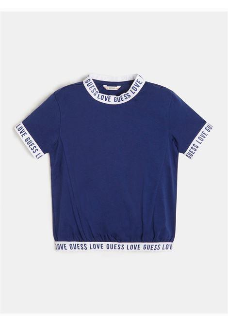 t-shirt blu in cotone con bordini logati GUESS kids | T-shirt | J1RI23K6YW1PSBL