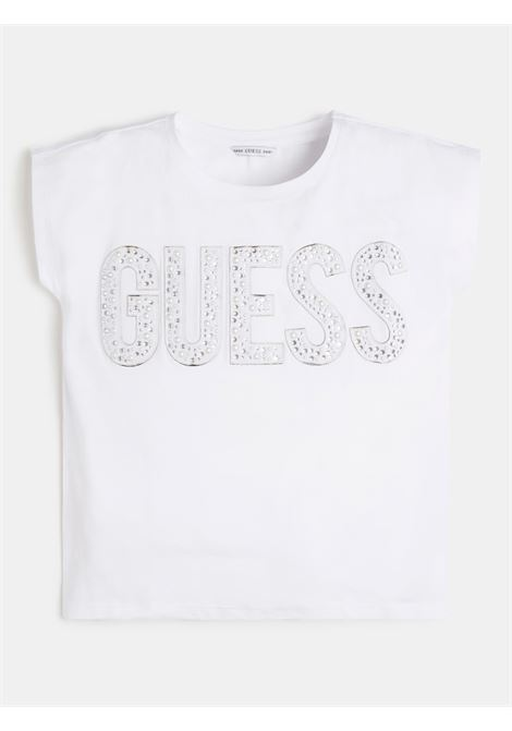t-shirt in cotone bianca con scritta in strass frontale GUESS kids | T-shirt | J1RI34K6YW1TWHT