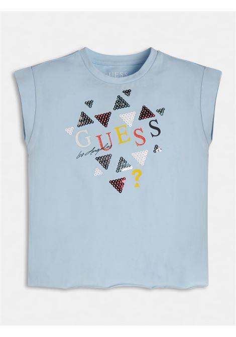t-shirt asimmetrica mezza manica in cotone GUESS kids | T-shirt | K1GI03K6YW1AZZURO