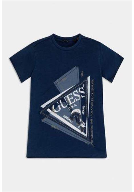 t-shirt mezza manica blu logo frontale GUESS kids | T-shirt | L1RI15K8GA0F233