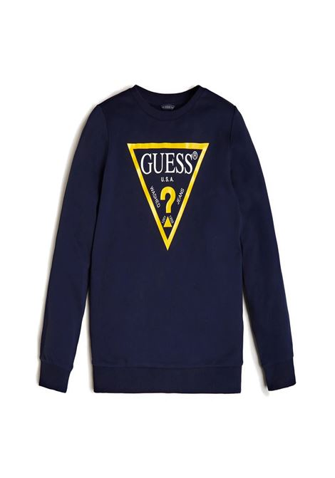 felpa basic blu girocollo logo frontale GUESS kids | Felpe | L73Q09K5WK0C765