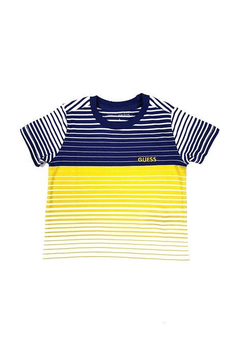 T-SHIRT CON RIGHE GIALLE E BLU GUESS kids | T-shirt | N1GI20KAMG0ST28