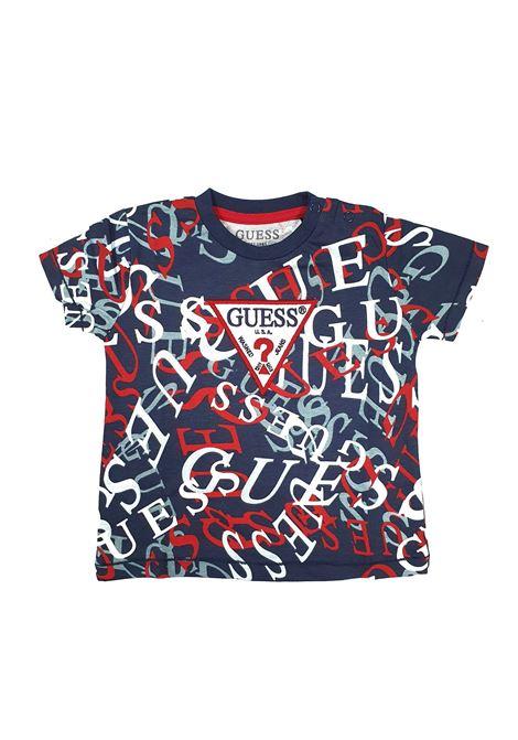 T-SHIRT GIROCOLLO BLU LOGATA GUESS kids | T-shirt | N1RI04K8HM0P0X5