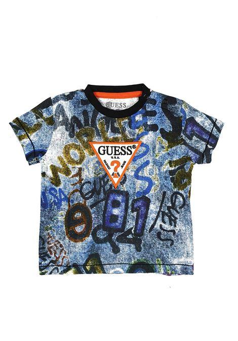 T-SHIRT FANTASIA CON LOGO FRONTALE RICAMATO GUESS kids | T-shirt | N1RI04K8HM0P882