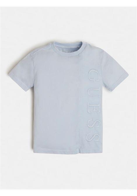 T-SHIRT AZZURRA SCRITTA RICAMATA FRONTALE GUESS kids | T-shirt | N1RI22K8HM0AZZURRO