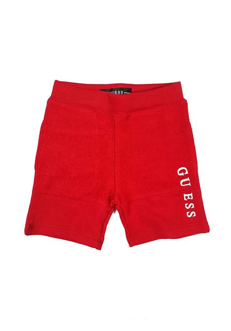 BERMUDA IN FELPA ROSSSO CON LOGO GUESS kids | Pantaloni | N1RQ08KA6R0G503