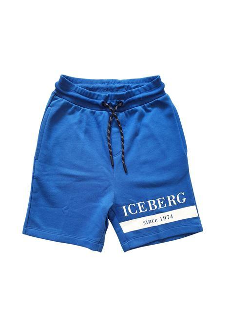 bermuda in felpa bluette con logo stampato frontale iceberg | Pantaloni | BFICE1109JBLUETTE